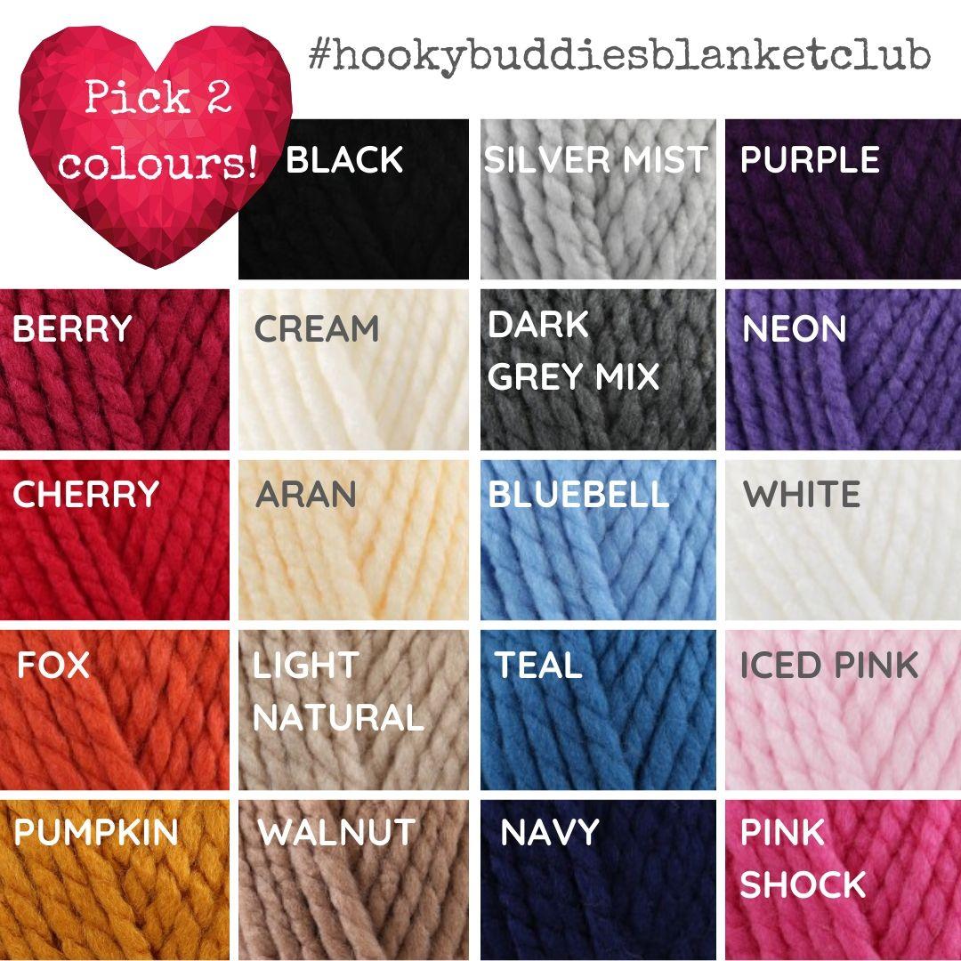 Hooky Buddies Blanket Club Colour Choices